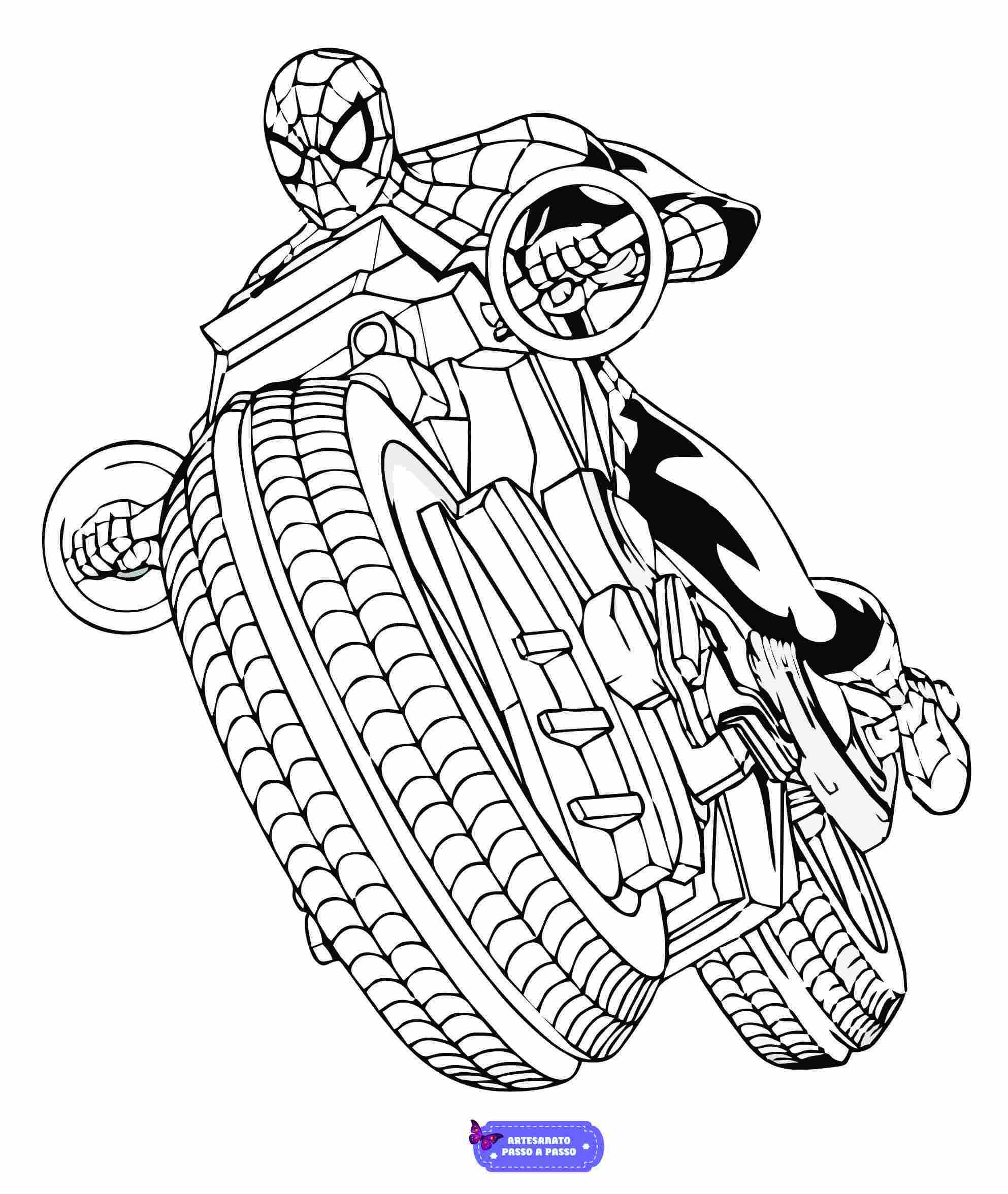 desenho do homem aranha com moto