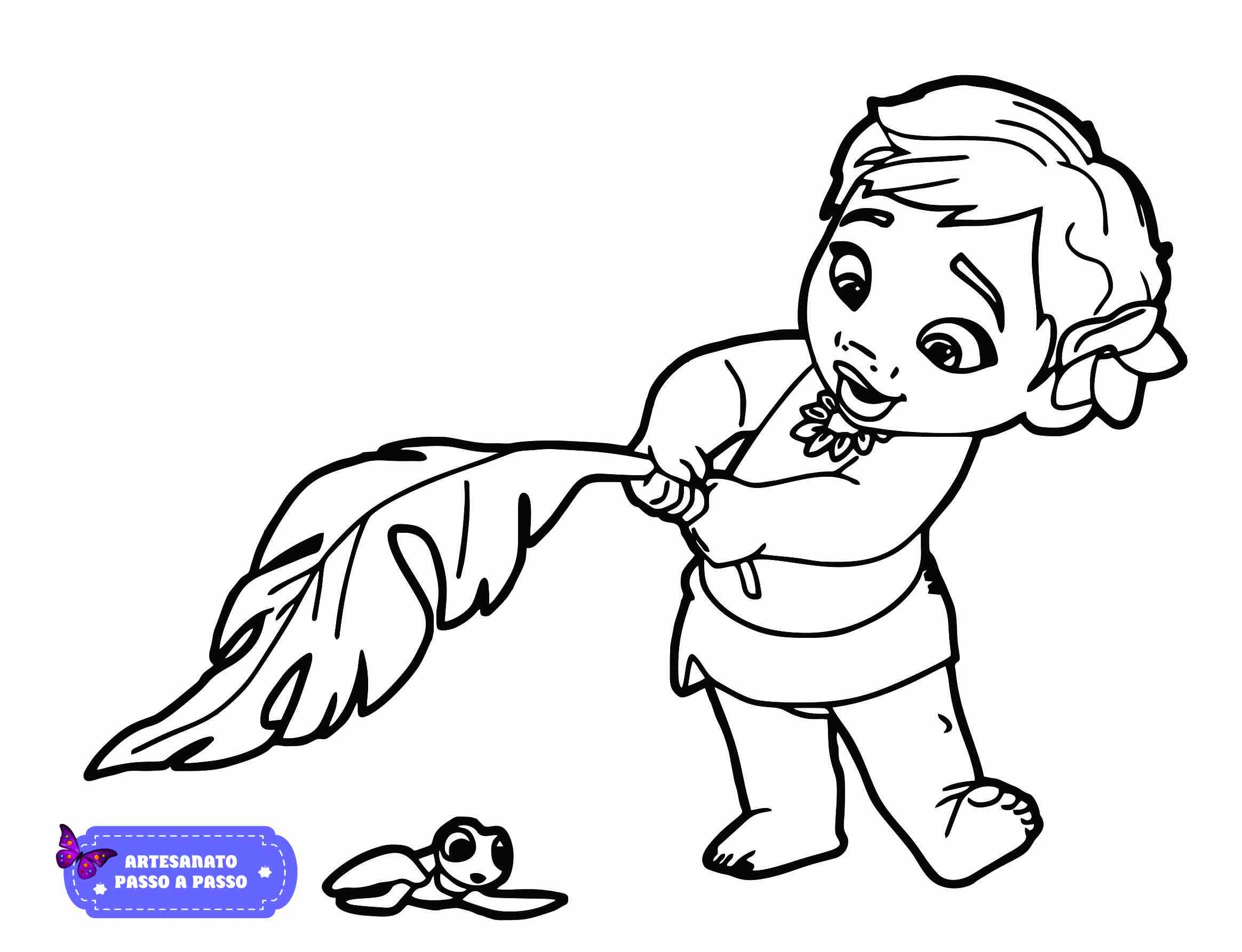 moana baby para colorir