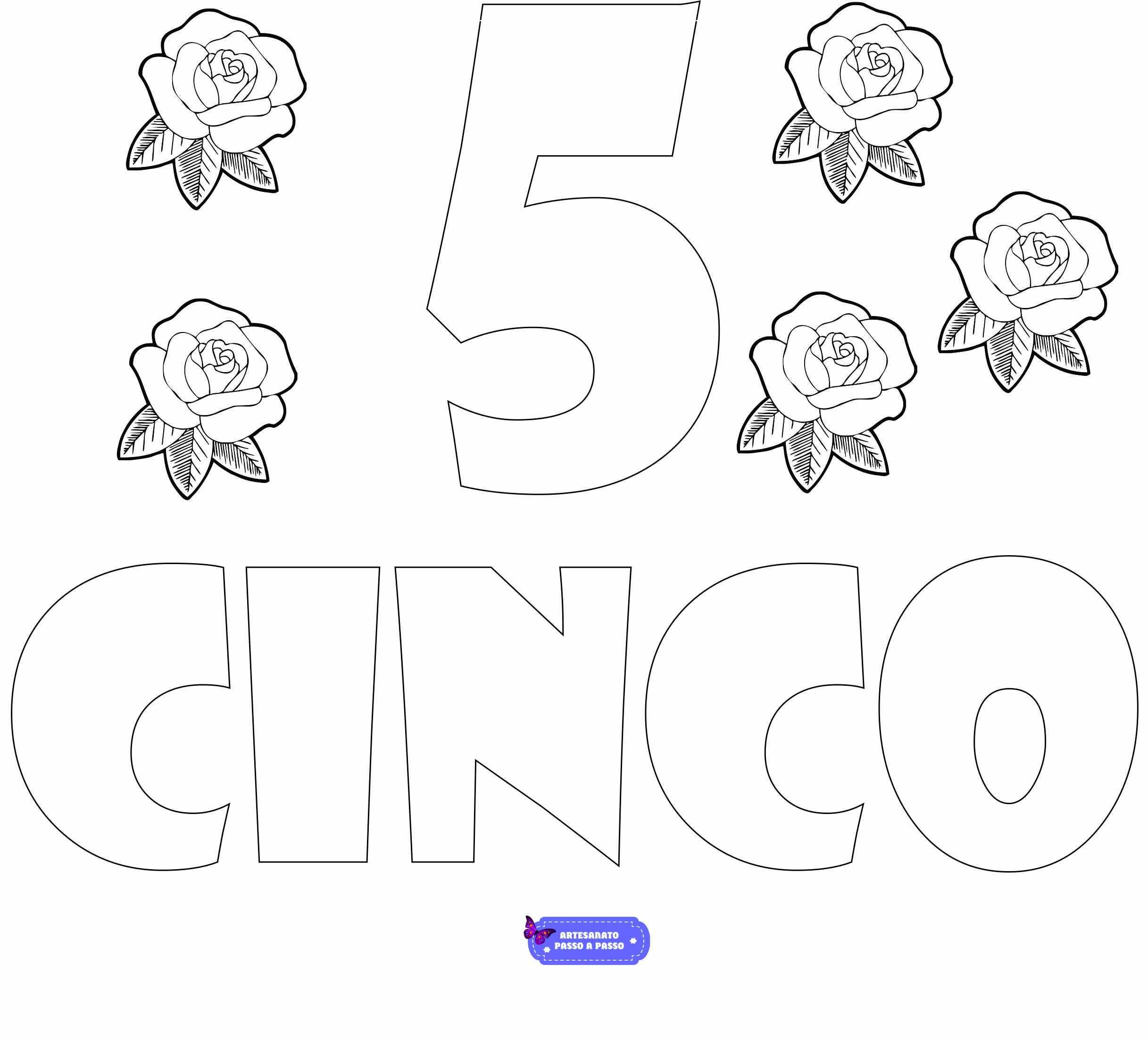 numero 5 para colorir