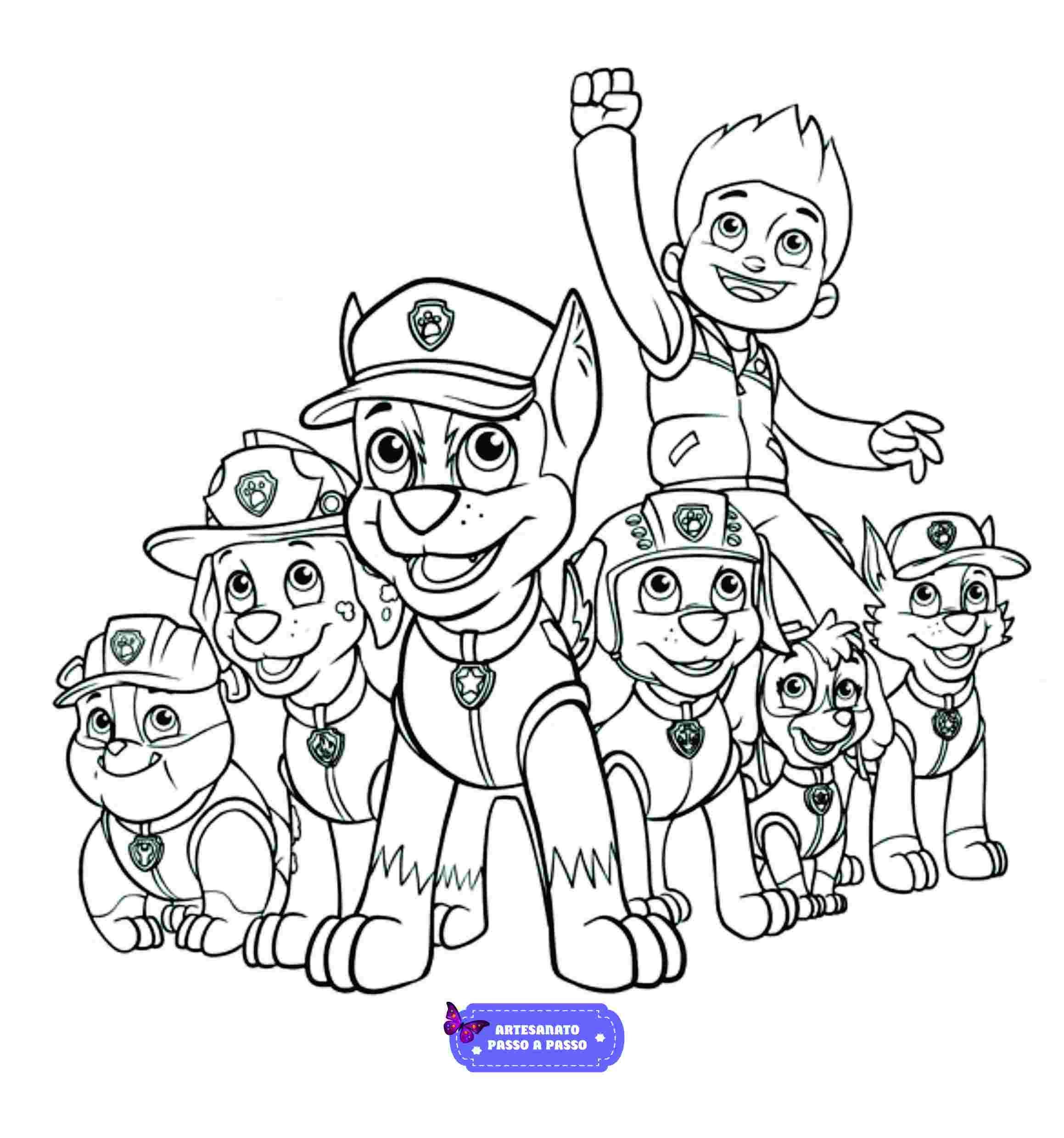 Desenho Da Patrulha Canina Para Colorir Artesanato Passo A Passo
