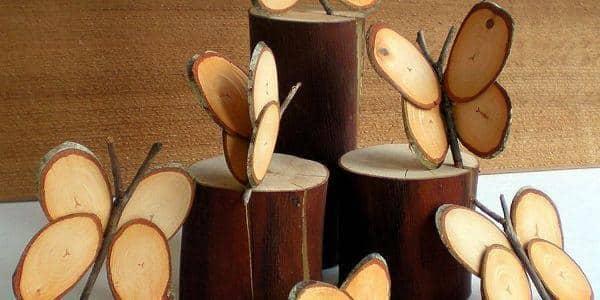 arte com lascas de madeira