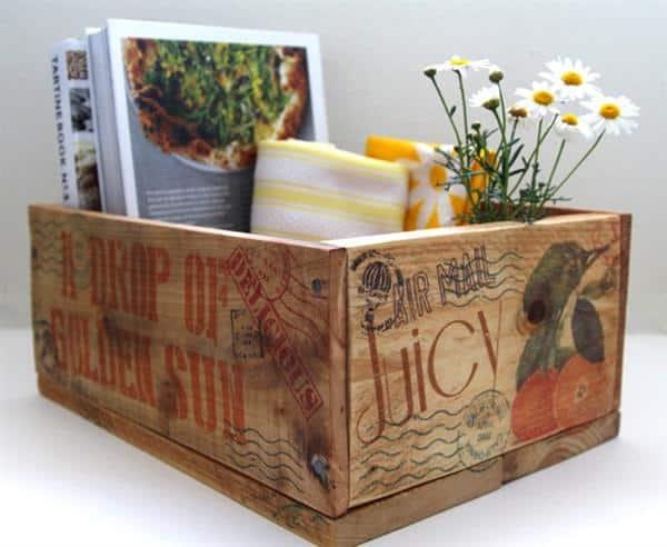 caixote decorativo de madeira