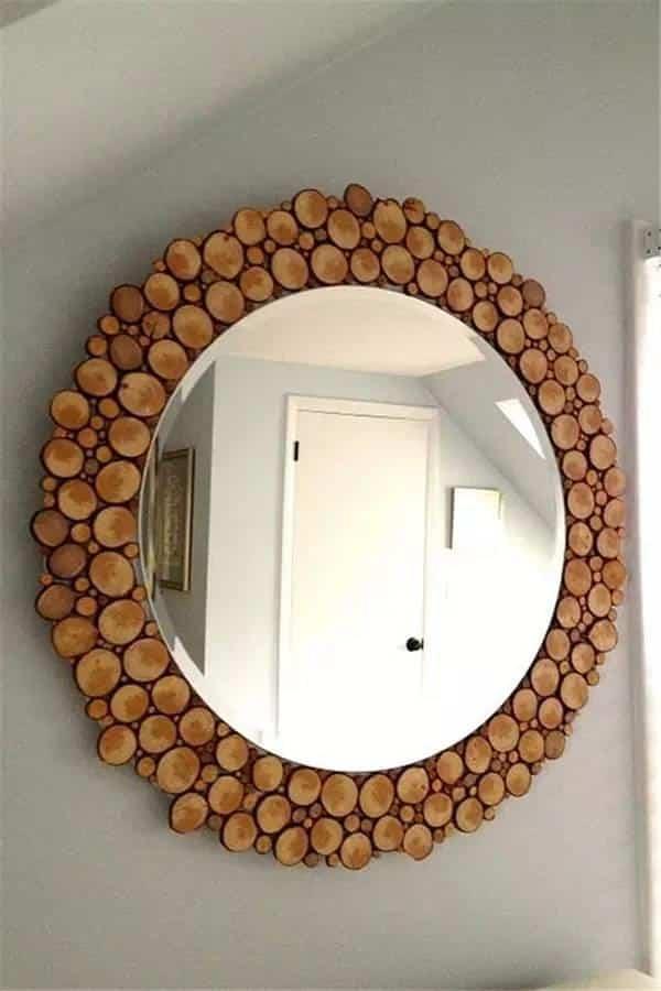 espelho decorado com madeira