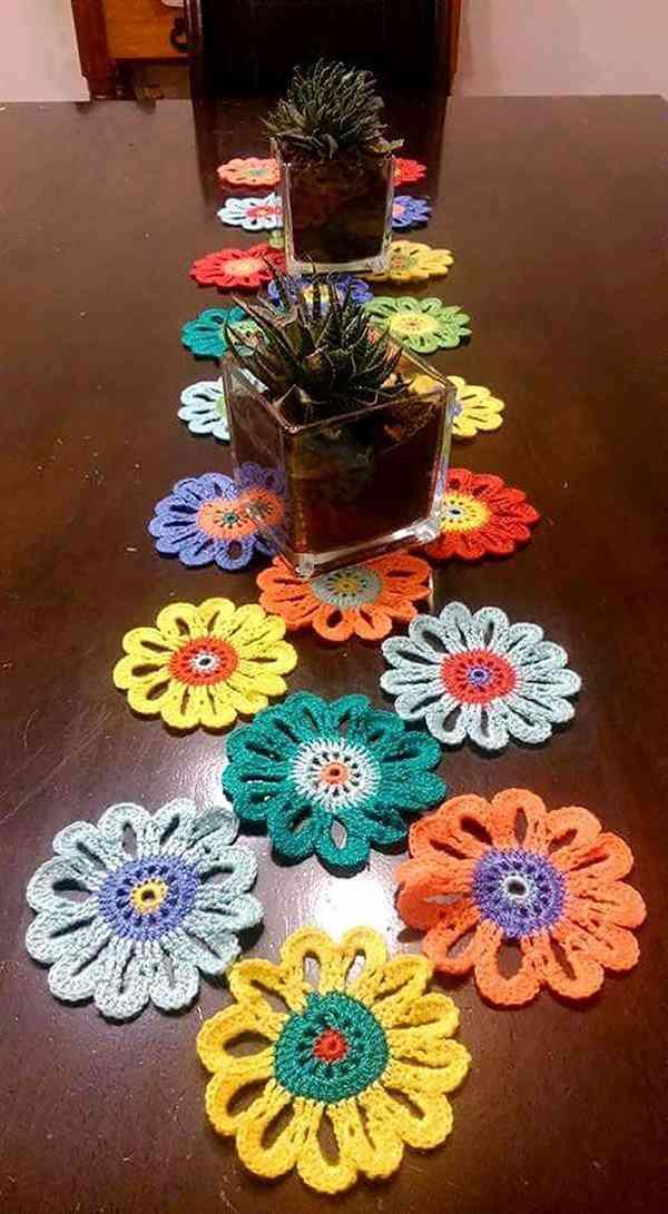 flores de croche para mesa