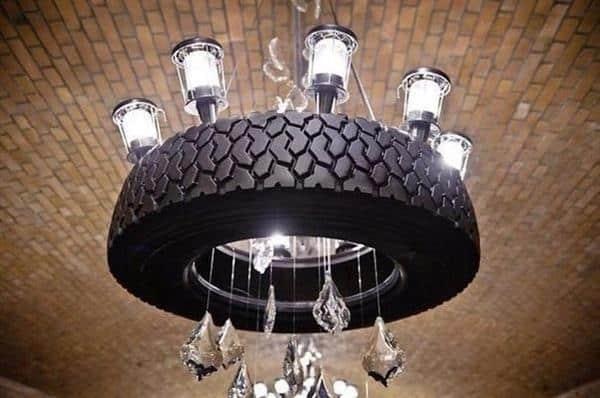 luminária com pneu