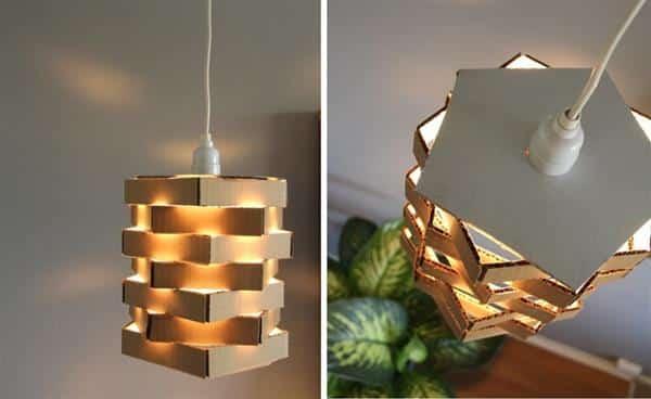 Luminária de papelão