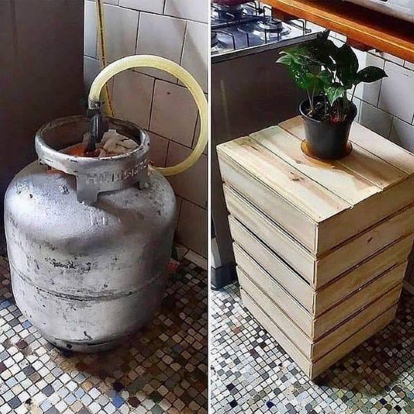botija de gas com capa de madeira