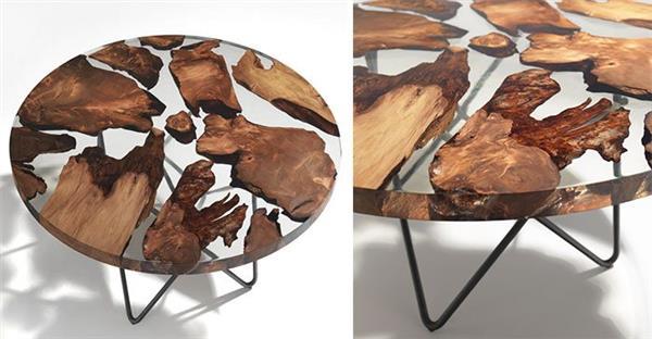 mesa de resina com pedaços de madeira