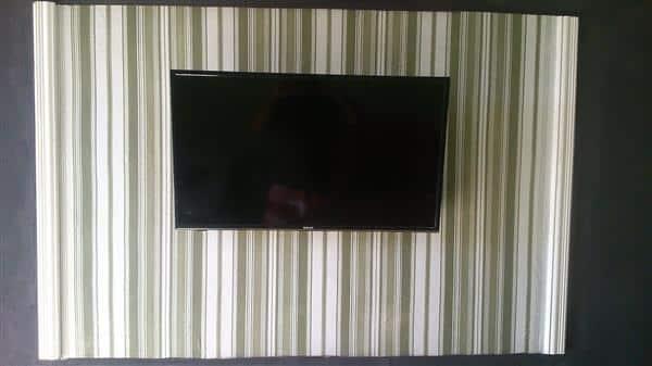 painel de tv com tecido