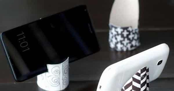 porta celular com rolo de papel