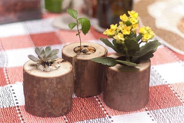 vasinho de madeira