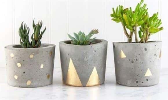 vaso de cimento pintado