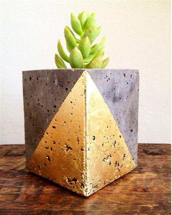 vaso de cimento quadrado