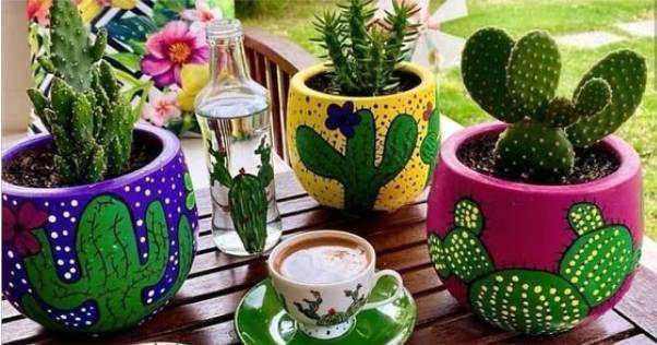 vasos de cimento decorados