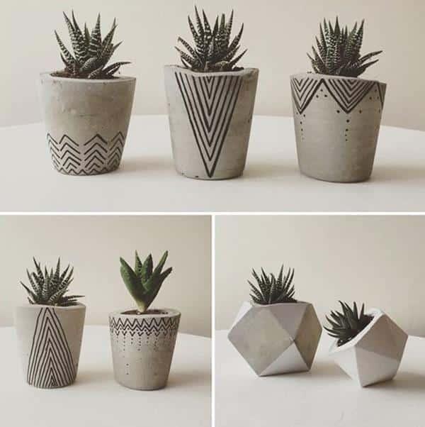 vasos decorativos de cimento