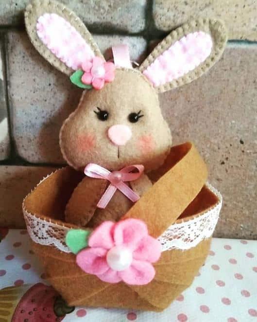 cestinha de feltro para doces