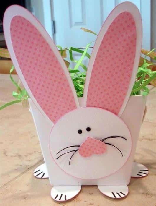 cestinha de papel de coelho
