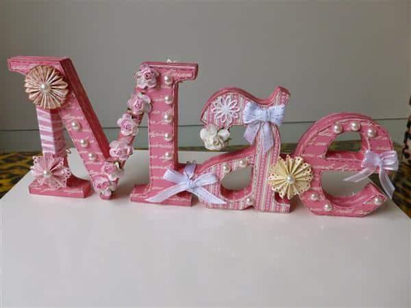 letra decorada em mdf