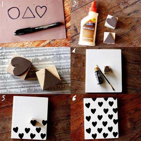 caderno decorado com carimbo