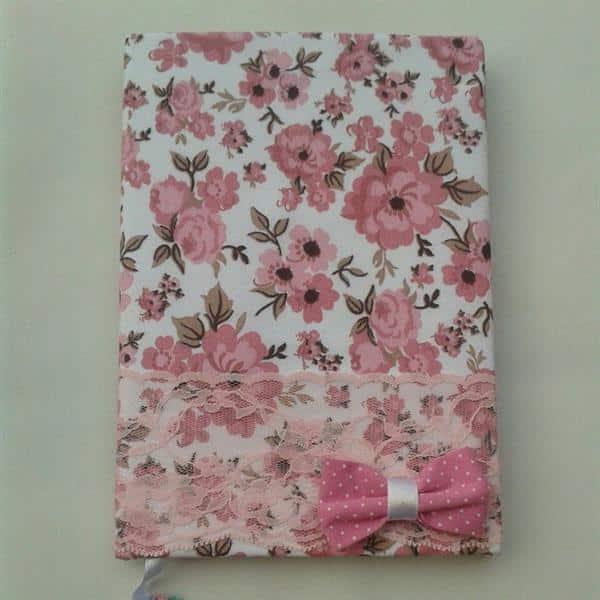 caderno com tecido