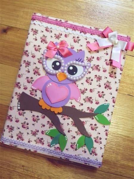 caderno-decorado-coruja-com-oculos-coruja
