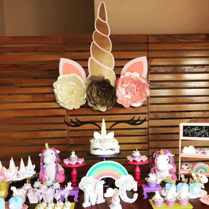 painel de unicornio brilhante