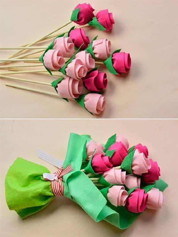 lembrancinhas-de-dia-das-maes-rosas de feltro