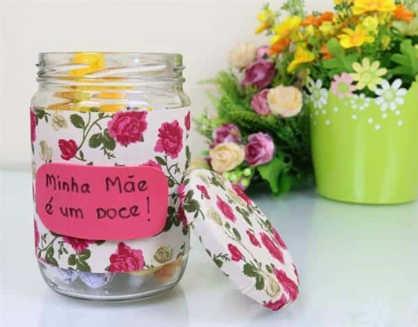 pote de vidro decorado para mães