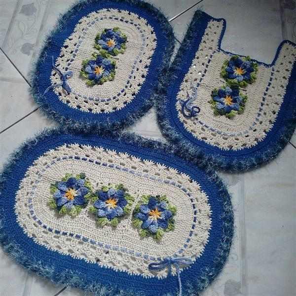 kit de banheiro azul