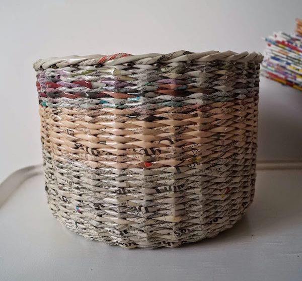 cestas papel de periodico