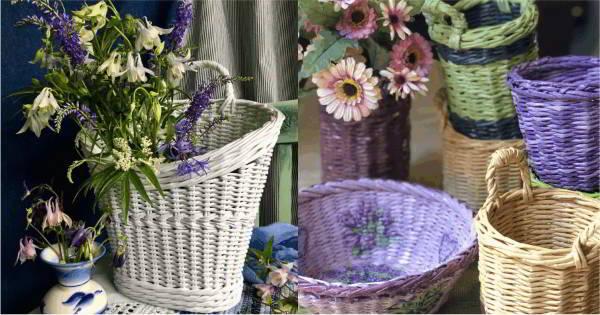 ideias de cestas feitas com jornal