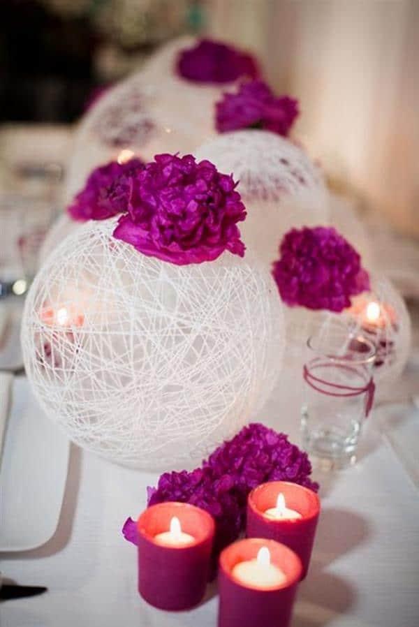 luminaria-de-barbante com flores