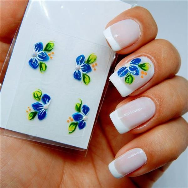 unha flores azul