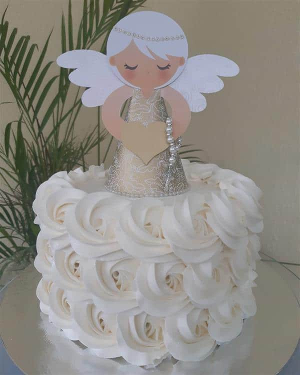 bolo-de-batizado-com anjo de papel