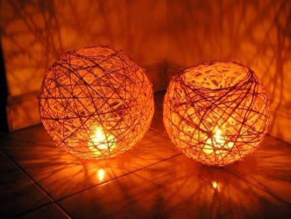 luminaria de mesa artesanal de barbante