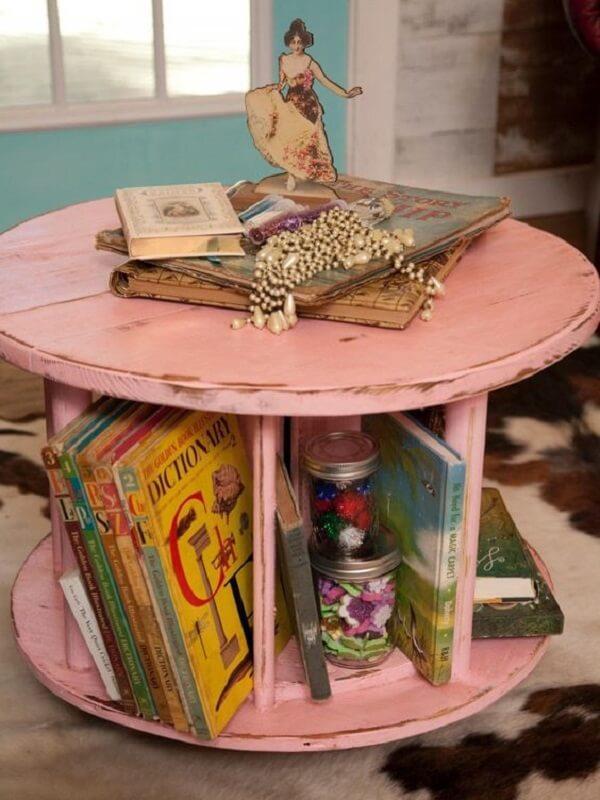 mesa-de-carretel para livros