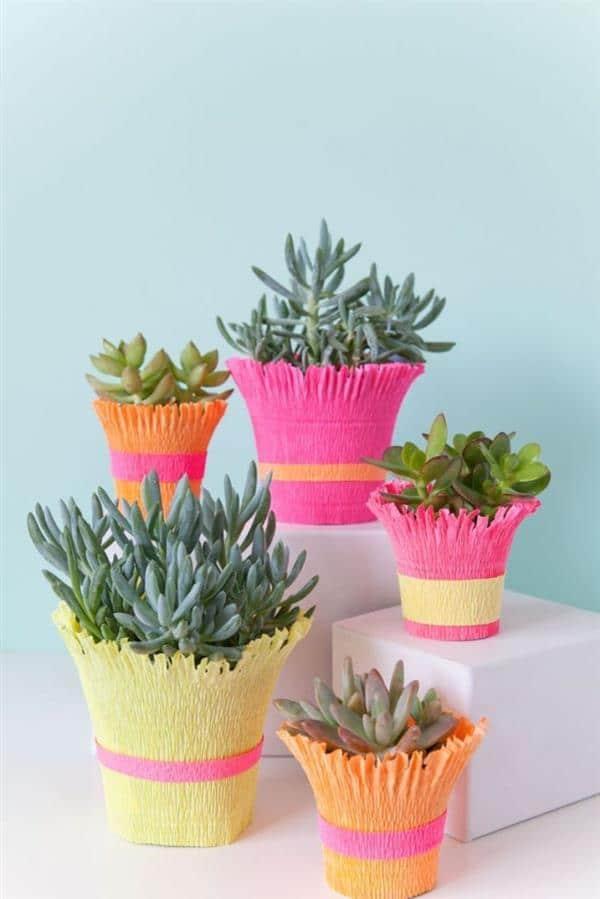 vasos decorados com crepom