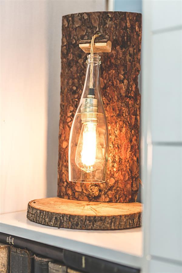 luminaria-rustica-madeira e garrafa
