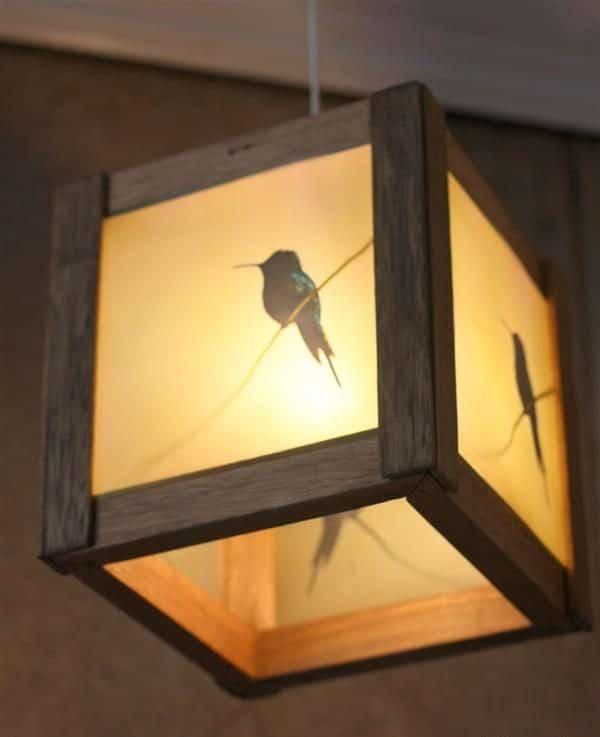 luminaria quadrada de madeira