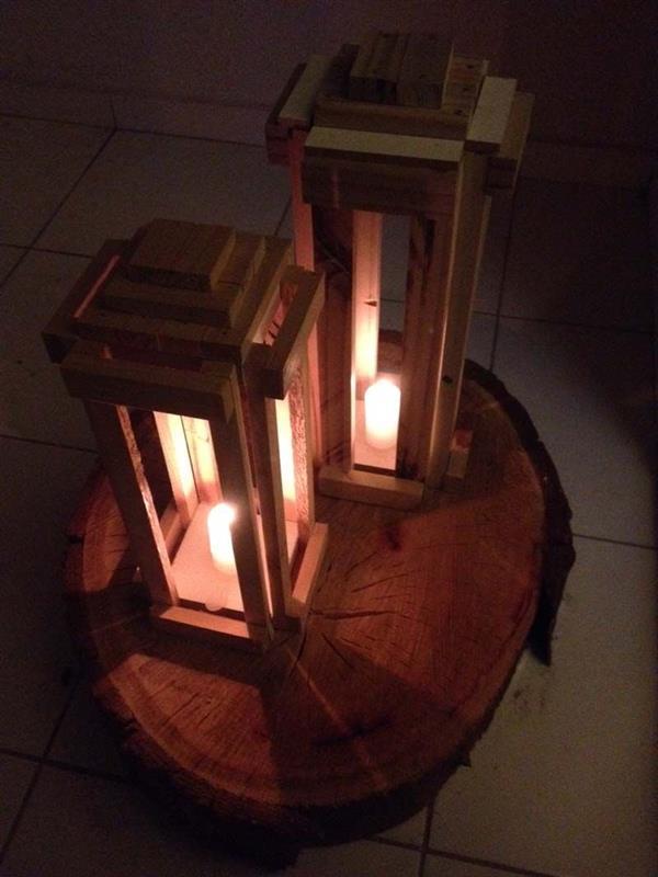luminaria de madeira de mesa