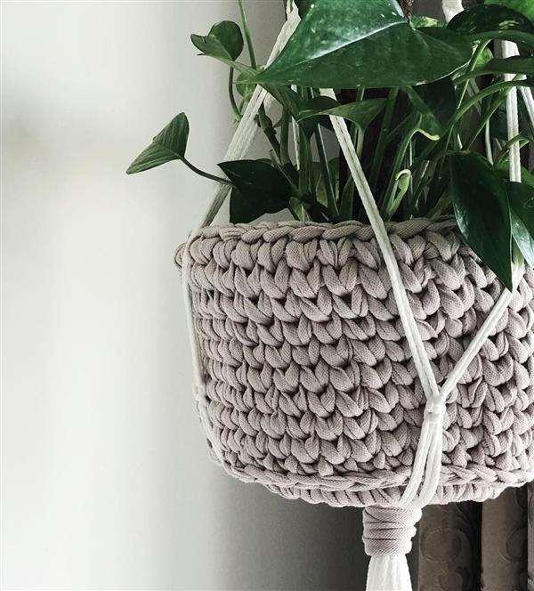 cesto para plantas de croche