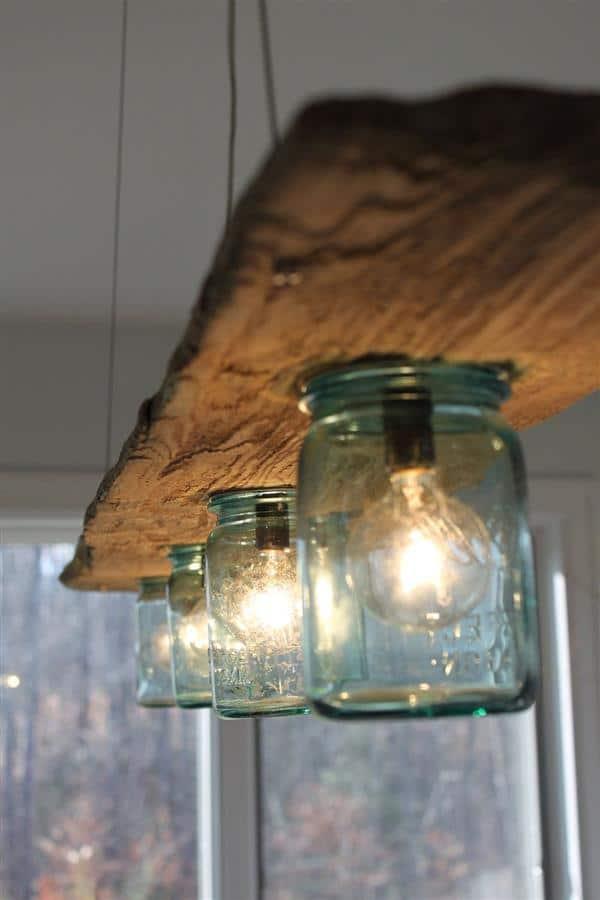 luminária de madeira com vidro