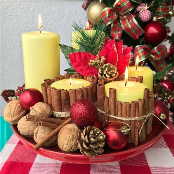 centro de mesa de natal rustica