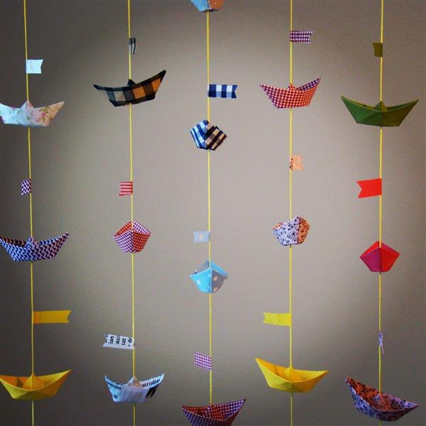 cortina de barquinho de papel