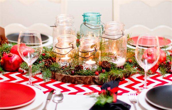 mesa de natal com vidros
