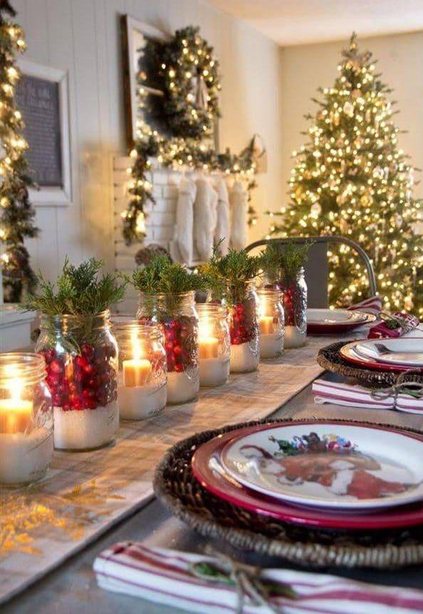 mesa de natal rustica
