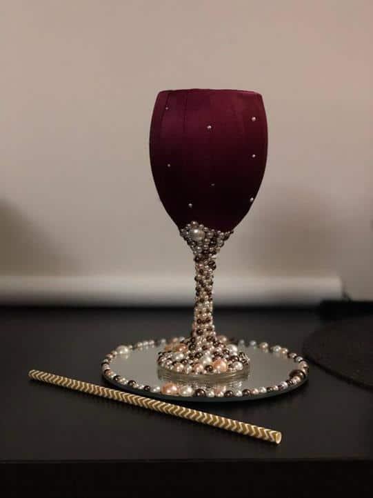 taça decorada com fita