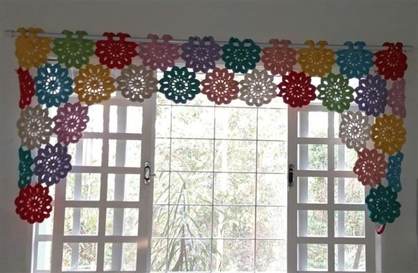Cortinas-de-Crochê-flores