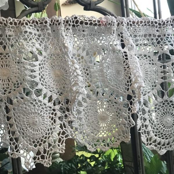 cortina de pontos de croche