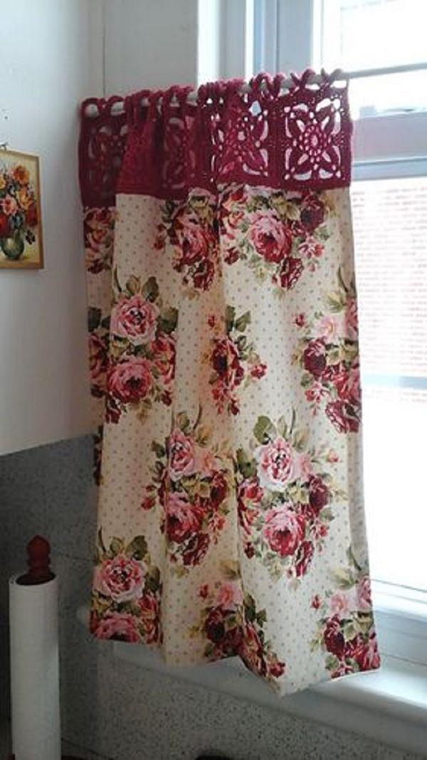 cortina de croche com tecido
